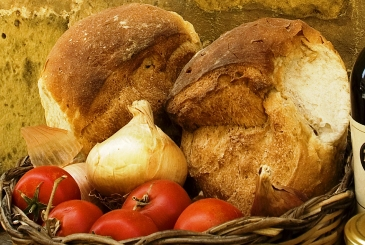 Bread and fresh produce on display