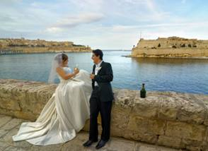 Wedding Toast with Harbour View